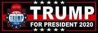 "Donald Trump for President 2020 with MAGA Hat Bumper Sticker 8.8"" x 3"" TRUMP"