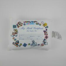 Vintage Baby Looney Tunes Birth Certificate Pillow 1993 Loveables Warner Bros