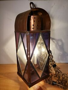 Vintage COPPER STAINED GLASS HANGING LAMP