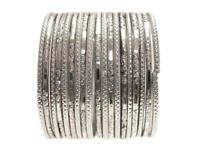 Modern Silver GLASS Bangles Indian Fashion Sari Jewelry Bracelet Set 2.10 ML
