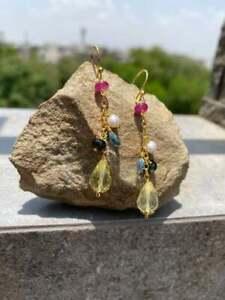 Silver Jewellery 925 Silver BLUE TOPAZ HEART Lemon quartz drops Earring