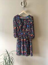 Topshop Black Mix V Neck Butterfly Print Dress Size 12