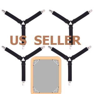 4X Triangle Bed Sheet Mattress Elastic Fastener Grippers Clip Holder Suspender