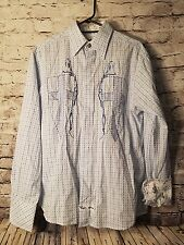 English Laundry  Embroidered Flip Cuff Hand Sewn Mens Shirt M Size Medium