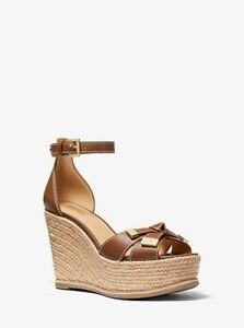 MICHAEL KORS Ripley Wedge Sandals Classic Open Toe Heels Luggage 7 M $140