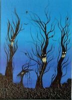 ACEO Original Spooky Trees Ravens Halloween Fantasy Happy Fun Art ATC HYMES