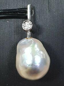 Anhänger 585 GOLD 14 Karat Perle Weißgold pearl Diamant pendant Art Deco