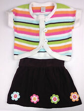 GYMBOREE Outfit Set Girls Brown Pink Flower Stripe Cardigan Sweater Skirt 2/3T