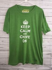 Keep Calm and Chive On T-Shirt Large Unisex Green Tee Casual Original Cotton