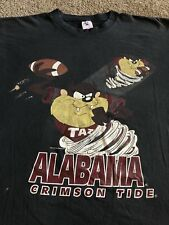 VTG Looney Tunes Taz Shirt Black Size XXL 1994 Alabama Crimson Tide Football