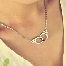 New Silver Intersect Handcuffs Pendant Necklace Chunky Collar Necklace Chain