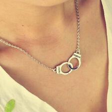 New Design Men/Women Fashion Stuff Silver Tone Handcuffs Short Necklace Pendant