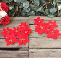 Set 4 & 6 Red Velvet Clip On Silk Poinsettia Christmas Tree Wedding Decorations
