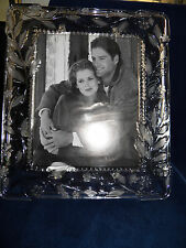 CUT CRYSTAL PICTURE FRAME WITH FLORAL DESIGN  NEW
