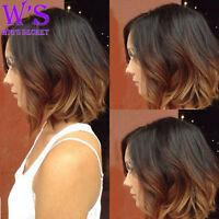 Blonde Ombre Two Tone BOB Wig Full Head Lace Front Wigs Heat Resistant Synthetic