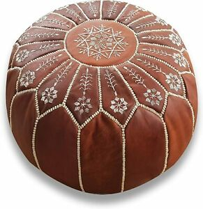 Handmade Leather Pouf Ottoman Moroccan Pouf Pouffe Footstool Uniqu Natural Brown