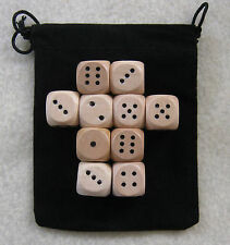 14mm Lot of 10 Wooden Dice with 1x Bag (set, 14mm d6, pips, wood)