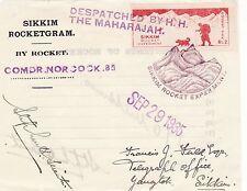 X119 Rare Enveloppe SIKKIM ROCKET EXPERIMENT de Septembre 29 1935 ROCKETGRAM