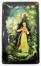 "Russian Lacquer box ""Vasilisa beautiful"" Hand Painted Factory certificate #255"