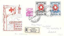 Repubblica Italiana 1963 FDC Roma Fondazione della Croce Rossa Racc.