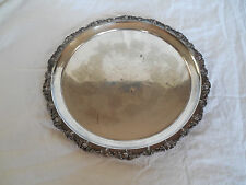 """Barbour hnad cased silver round tray 14.5"""" grape design"""
