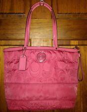 Coach Signature Stitched Nylon Tote Bag F17668 Pomegranate Pink