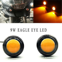 2 x SMALL LED BLACK DOME MOTORCYCLE-CHOPPER-BOBBER TURN SIGNAL LIGHTS - Yellow