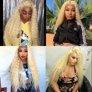Blonde Synthetic Lace Front Wigs Long Deep Water Wave Curly Wig #613 Heat Safe