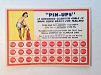 Vintage Pin Up Punch Board-Girlie Ad-1940's Gambling Lotto-Trade Stimulator-