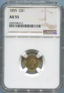 1855 United States 1 Dollar Gold, NGC AU55