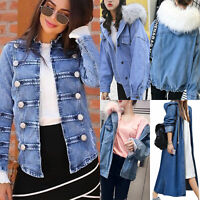 Women Casual Denim Jean Long Coat Hooded Outwear Jacket Overcoat Jumper Cardigan