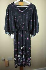 Vintage Women's Black Violet Floral Leaf 70's Polyester Blousy Dress Size 15/16