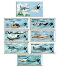 NIC8807 Helicopters block and 7 stamps