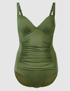 Lovely BNWT M&S Secret Slimming tummy control khaki swimsuit 8 10 12 22 24