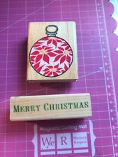 Merry Christmas And Ornament Rubber Stamp By Rubber Stampede 2 Qty