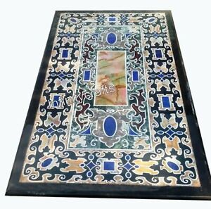 30 x 60 Inches Marble Dining Table Top with Pietra Dura Art Restaurant Table