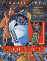 Touchdown Pinball FLYER Original NOS Gottlieb Mylstar Football Promo Art 1984