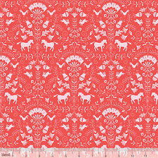 By 1/2 Yard Blend Fabric ~ Hill & Dale Thistle Coral  Ana Davis Horse Pony Filly