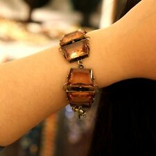Bracelet Female Geometry Brown Amber Color Original Evening Marriage Gift CT3