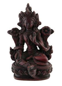 Statua Di Tara IN Resina Dea Buddista Tibetano Bordeaux 9.5 CM 362 mil4
