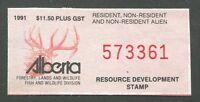 CANADA REVENUE ALBERTA RESOURCE DEVELOPMENT STAMP 1991