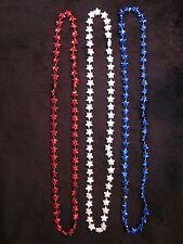 "1 DOZEN PATRIOTIC ""4 RED-4 WHITE-4  BLUE STARS"" MARDI GRAS NECKLACES 33in LONG"
