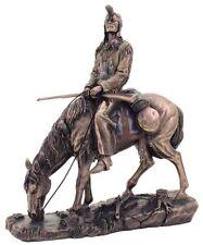 9.5 Inch Blackfeet Indian & Horse Statue Native Figurine American Warrior Indio