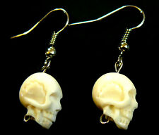 BOUCLES D'OREILLES CORNE OS TETE DE MORT SKULL BIJOUX HORN BONE EARRINGS
