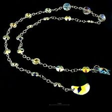 """Half moon & Star Necklace With Genuine Crystal Made in 925 Sterling Silver 24"""""""