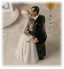 Interracial Porcelain Wedding Cake Topper African American Groom Blond Bride