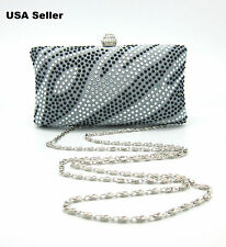 Silver Blue Rhinestones Box Case Evening Clutch Prom Party Snap Purse Bag *NEW*