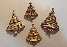 Vintage Set of 4 JJ Gold Tone Christmas Tree Brooches Multi-Color Signed