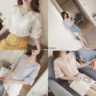Korean Fashion Women Casual Chiffon Lace Loose V Neck Tunic T Shirt Blouse Tops