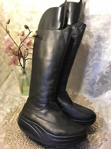 MBT Tambo Black Leather Boots Women 6M Exercise Walking Side Zip Tall Leather